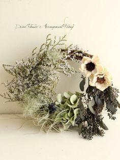 デュモサのサマーリース - ドライフラワーリース/ウェルカムボード/ ウェルカムリース  Dried Flower Arrangement ''Peony'' ピオニー