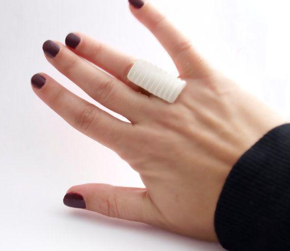 Geometric polymer ring white and gold ring handmade by bibigo