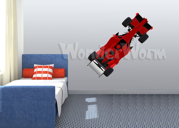 Red Race Car Wall Decal Vinyl Racing Wall Decor By KidsWallDecals, $54.95