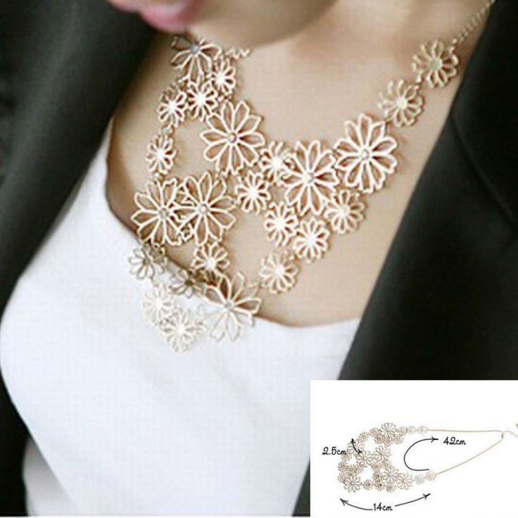 Venta caliente del Diseño de Marca de estilo occidental Multilayer hollow flores Colgantes de diamantes de Imitación de oro collar de la joyería declaración