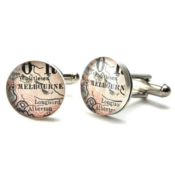 Map Cufflinks. A great gift for your groom / groomsmen