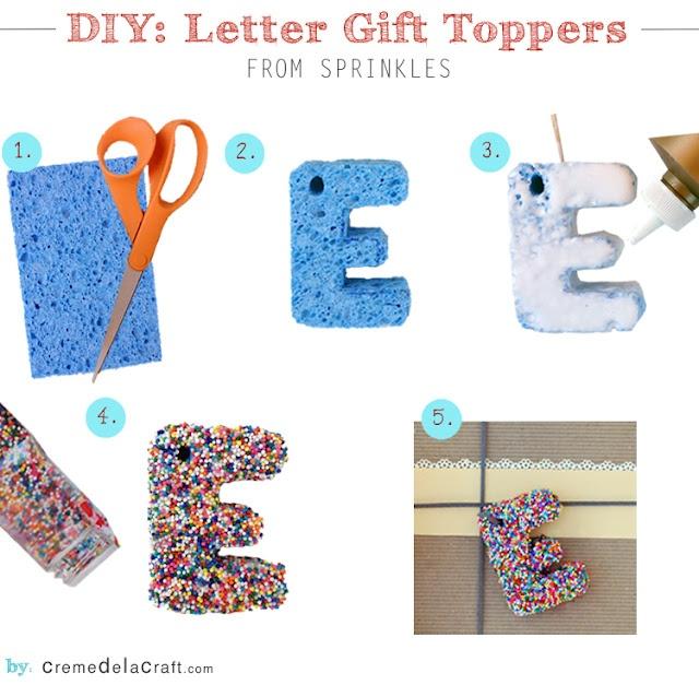 Make monogram birthday gift toppers from sprinkles #diy