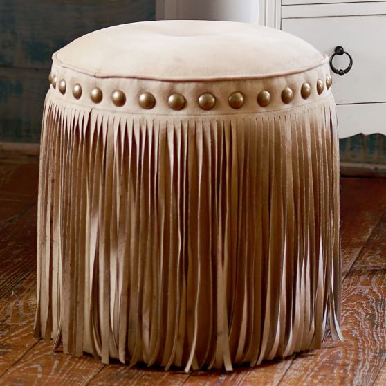 I'm nor one for fringe but I love this stool.❤❤ Junk Gypsy Austin Fringe Vanity Stool | PBteen
