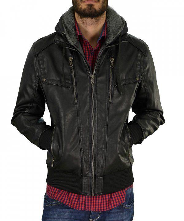 Ανδρικό μπουφάν δερματίνη Inox μαύρο με κουκούλα 16530 #χειμωνιατικαμπουφαναντρικα #εκπτωσεις #προσφορες #menjacket