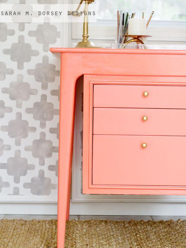 Sarah M. Dorsey Designs: Coral Desk + Tip For Reusing Old Hardware