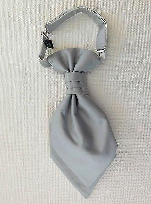 Boys cravat tie Wedding or page boy One size Machine washable satin Silver