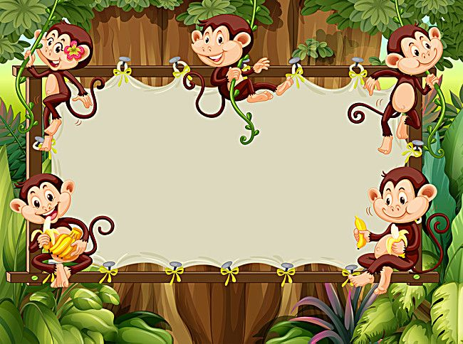 happy little monkey cartoon children background panels, Cartoon