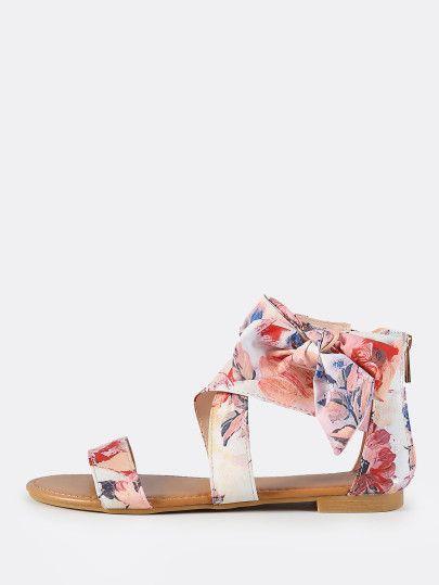 Floral Print Side Bow Flat Sandals BLUSH MULTI