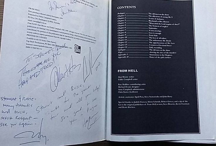 Inside page of my signed copy of 'From Hell' - signed by Johnny Depp, Ian Holm, Heather Graham and the Hughes Brothers.  #JohnnyDepp #IanHolm #JackTheRipper #HeatherGraham #FromHell