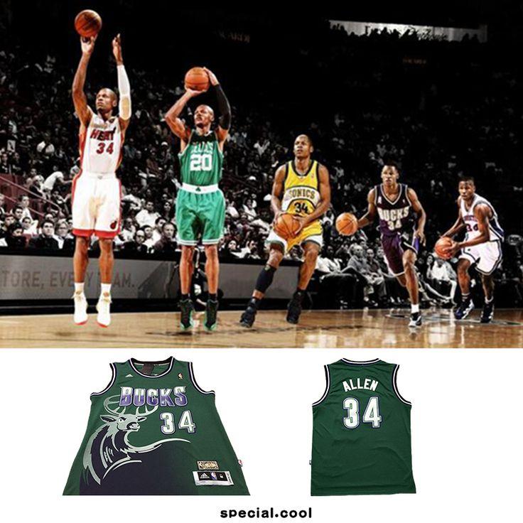 CHEAP #34 Ray Allen NBA Milwaukee Bucks Retro Basketball Jerseys Green S-XXL