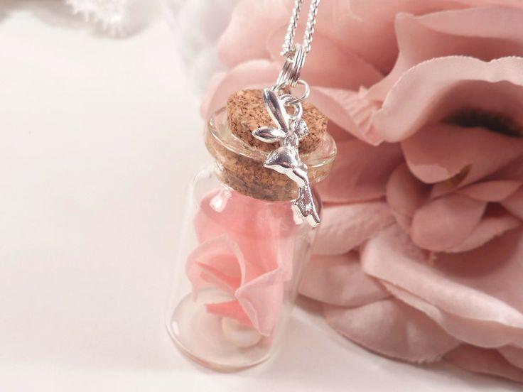 Blütenschmuck - 925 Kette Echte Rosenblätter in Glasflasche -Perle - ein Designerstück von perlen-schloesschen bei DaWanda