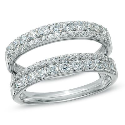 1 CT. T.W. Diamond Double Row Solitaire Enhancer in 14K White Gold