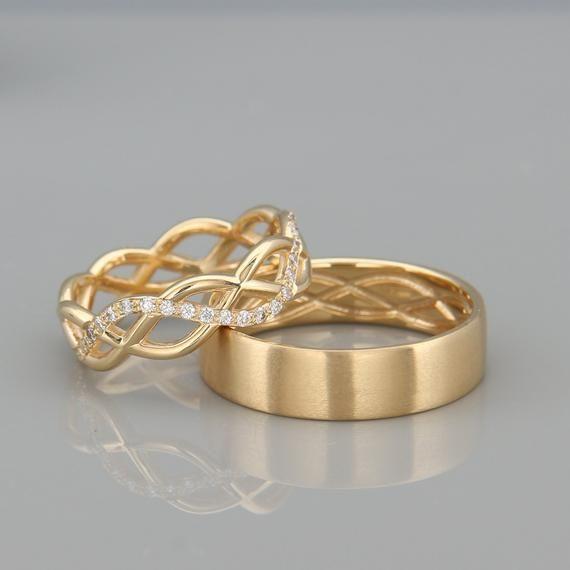 14k Gold Eternity Wedding Rings Set With Diamonds Handmade Etsy Wedding Ring Sets Rose Gold Wedding Band Diamond Wedding Rings