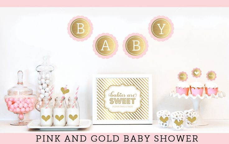 Pink and Gold Baby Shower Decor - Unique Baby Shower Ideas - Gold Glitter Baby Shower - Girl Baby Shower Decoration Themes (EB4011BS) by ModParty on Etsy https://www.etsy.com/listing/202519275/pink-and-gold-baby-shower-decor-unique