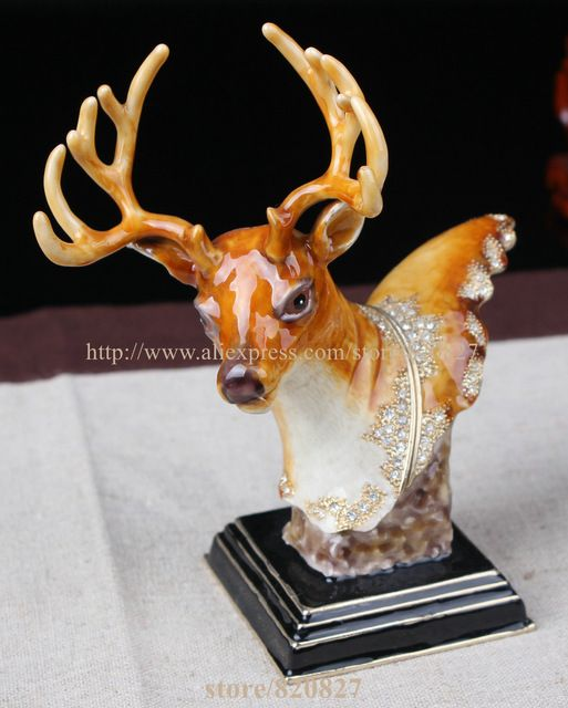 Metal Deer Figurine Display  Standing Vintage Buck Deer Decor Deer Head Storage Box Pill Box Container Girl Deer