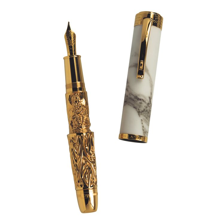 OMAS Michelangelo Anniversary Limited Edition Fountain pen in antique gold and Carrara marble. Made in collaboration with Opera del Duomo in Florence