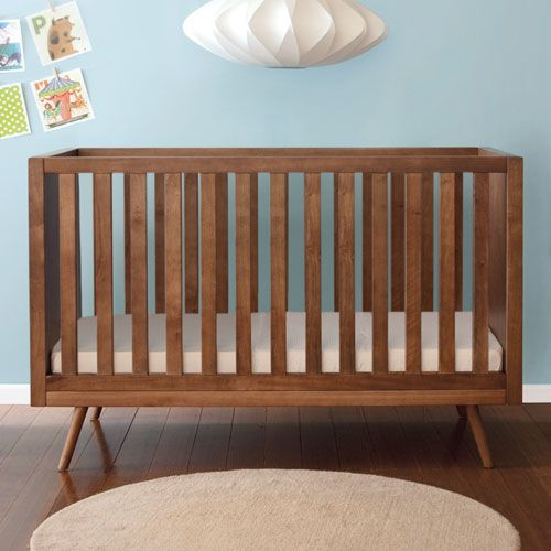 Mid Century Modern Slat Crib from PoshTots…waaaay too expensive but LOVE the style and color.