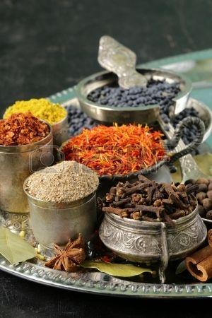 collection of various spices  paprika, turmeric, pepper, aniseed, cinnamon, saffron