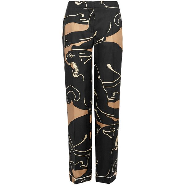 Valentino Panther-print Wide-leg Silk Trousers - Size S ($1,235) ❤ liked on Polyvore featuring pants, cream pants, cuffed pants, wide leg pants, elastic waistband pants and stretch waist pants