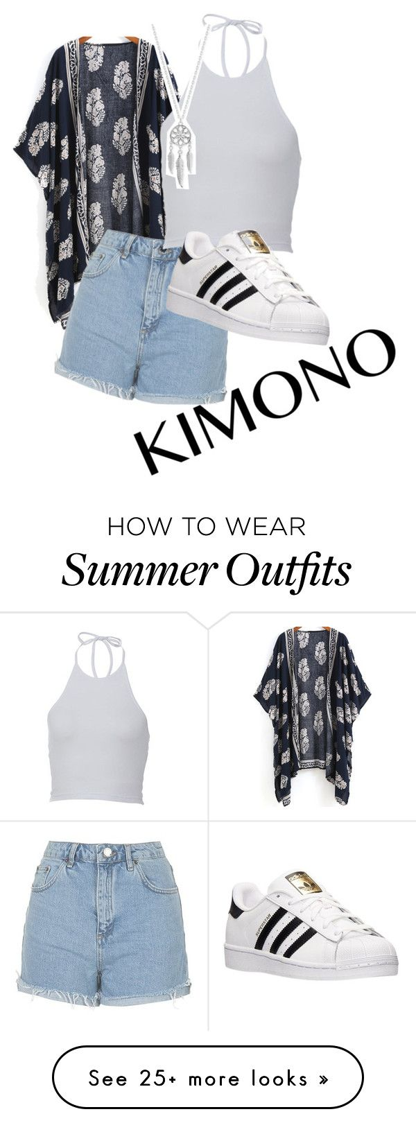 """""""Summer outfit"""" by emely11 on Polyvore featuring Topshop, adidas, Lucky Brand and kimonos"""