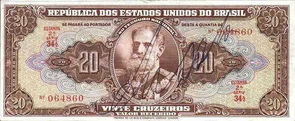 20 Крузейро (1950) Бразилия (Brazil) Южная Америка