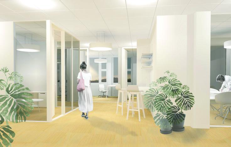 Interior view- suggested renovation of Stord Rådhus // Arkitektkontoret Brekke Helgeland Brekke AS