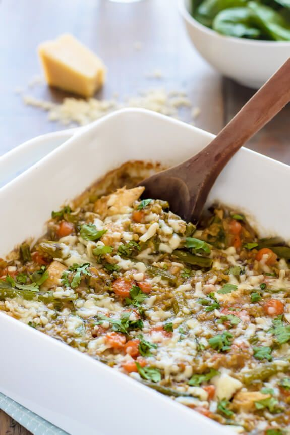 A healthy chicken and asparagus casserole with a creamy cheese sauce. Your entire family will love this dish! Use quinoa to make it gluten free.