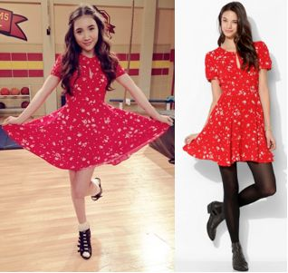 Riley Matthews (Rowan Blanchard) wears a Kimichi Blue Ruby Keyhole Fit & Flare Dress in the color Red in an upcoming episode of Girl Meets World Season 1.