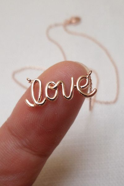 """Love"" Rose Gold Dainty Necklace - ShopLuckyDuck"