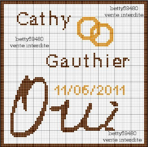 amour - love - mariage - oui - point de croix - cross stitch - Blog : http://broderiemimie44.canalblog.com/