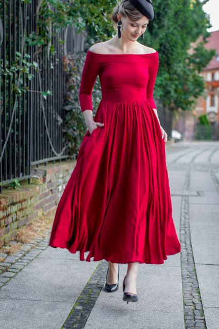 Red ankle-length dress