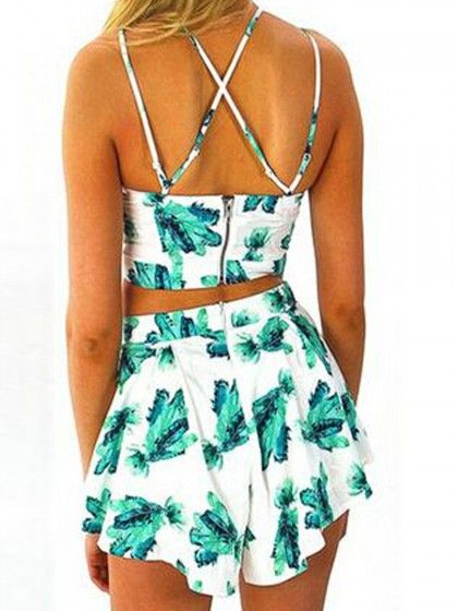 White Floral Spaghetti Strap Crop Top And High Waist Shorts | fashion street style,suitable for teen girls when go out in the summer!