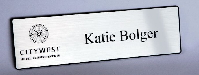 laser engraved name badges, hotel badges, delegate badges, Ireland,