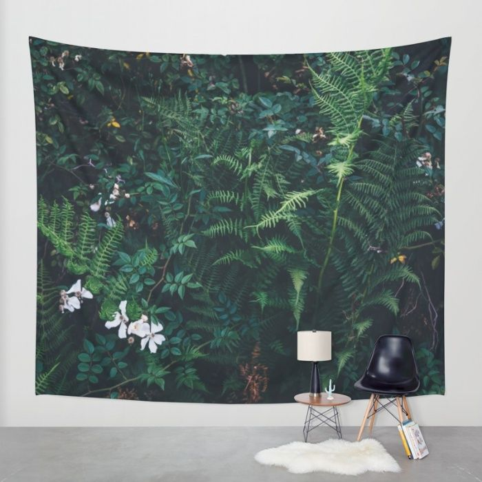 Fleurs Vertes Wall Tapestry by Mixed Imagery | Society6