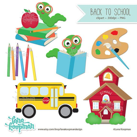 Back to School Clipart Schoolhouse Clipart by LanaKoopmanDesign