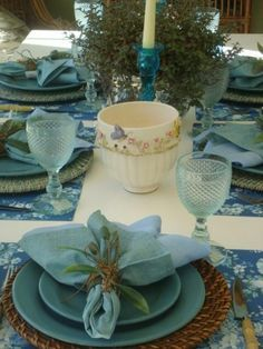 Lovely rustic table settings - blues and neutrals