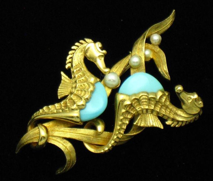BOUCHER Double Seahorse Faux Turqoise and Pearl Figural Brooch Rare #Boucher