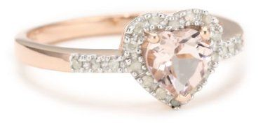 Rose Gold Plated Sterling Silver Morganite and Diamond Heart Ring, (.1 Cttw, G-H Color, I2-I3 Clarity), Size 7 Amazon Curated Collection. $70.00