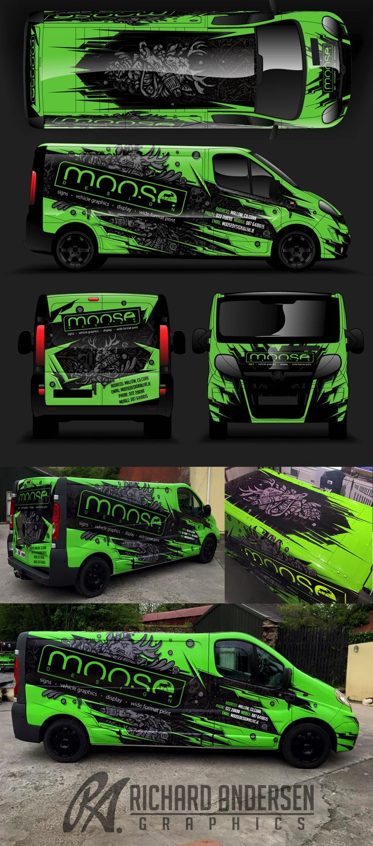 Van wrap design with custom character.
