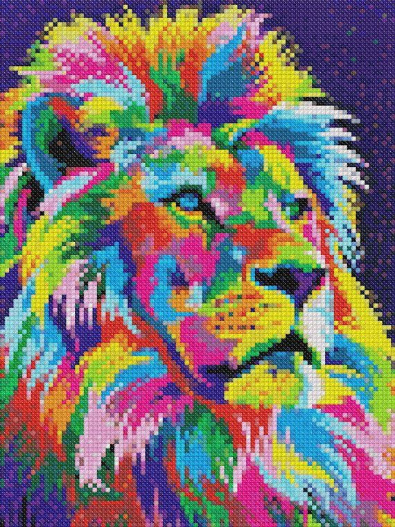 CA168168007 Portrait of Lion-Color Pattern Counted Cross-Stitch  Needlecraft Embroidery Chart-Printable PDF Pattern-Color Symbols DMC Color