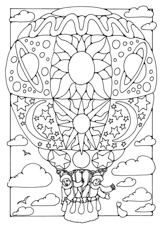 Hot Air Balloon Decorated Flying With Two Passengers Coloring Page