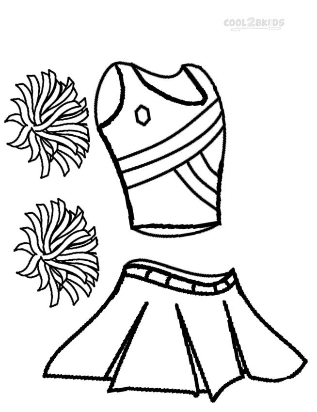 Coloring pages of cheerleader pom poms coloring pages for Printable cheerleading coloring pages