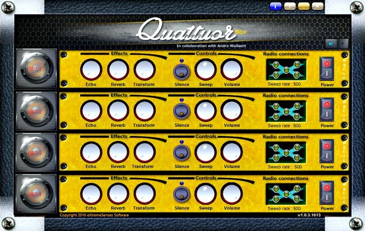 Quattuor Box - Classified as an Instrumental Trans-Communication (ITC) paranormal software by  eXtremeSenses Software. Quattuor box is a unique 4 ghost box tuner that uses only internet radio stations for the audio streams. Each tuner has it's own effects and  controls. Almost like having 4 small ghost boxes in one software.....(Only $15.95)