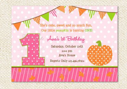 Hey, I found this really awesome Etsy listing at http://www.etsy.com/listing/108905030/pumpkin-birthday-invitations