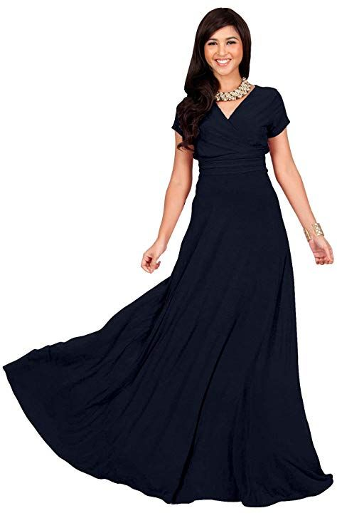 39d957a8e9 KOH KOH Womens Long Cap Short Sleeve V-neck Flowy Cocktail Slimming Summer  Sexy Casual Formal Sun Sundress Work Cute Gown Gowns Maxi Dress Dresses