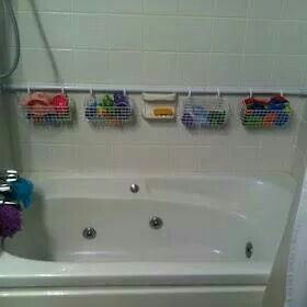 Curtain rod, rings, and baskets!