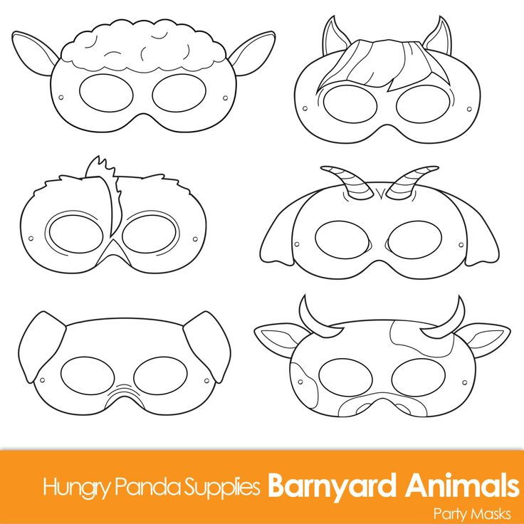 Barnyard Animals Printable Coloring Masks by HappilyAfterDesigns