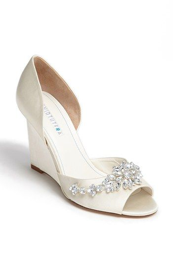 David Tutera 'Winter' Wedge Sandal (Online Only) | Nordstrom these are the pretties wedding wedges i've seen if you wanted to try for a heel!! I also think the gems would match your belt really well :)