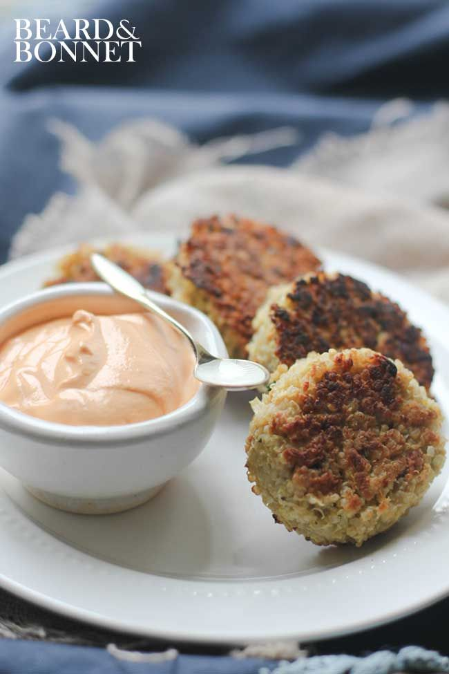 Roasted Red Pepper Cashew Cream (Gluten Free & Vegan) and Crispy Quinoa Cakes @Beard + Bonnet by UNION18 #eatcleanpinparty