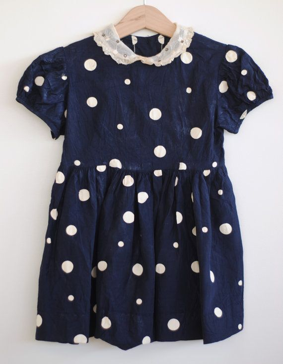 Vintage 1940's Toddler Girl Dress Navy Blue with by HartandSew